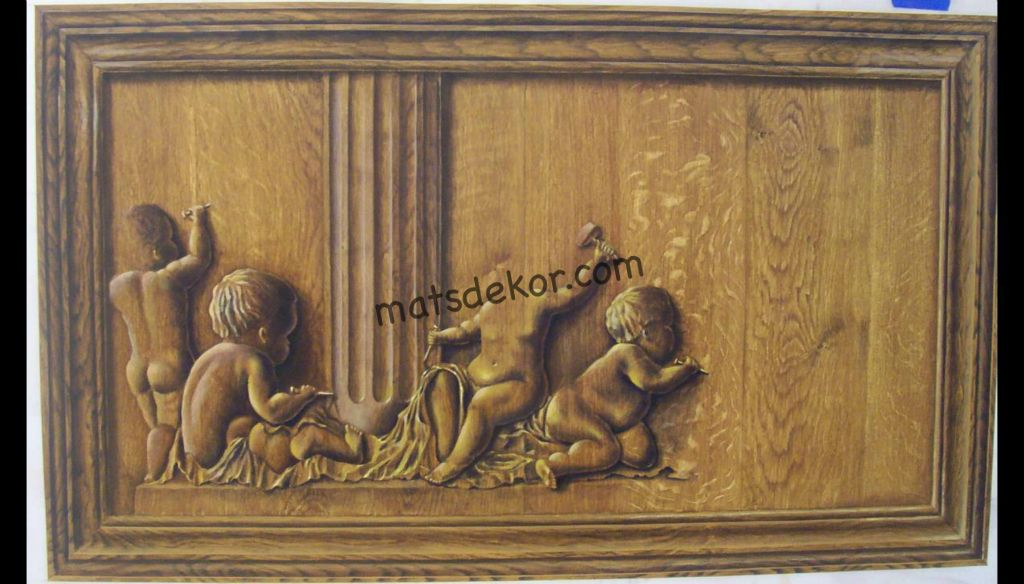 Oak panel - wood carving illusion